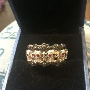 Jewelry - SS skull ring with rubys
